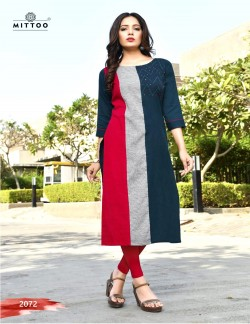 PRIYAL BLUE GREY AND RED KURTI