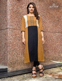 PRIYAL BROWN RED AND GREY KURTI