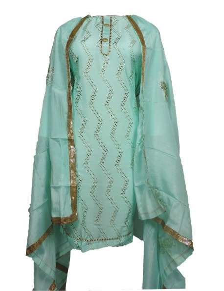 LIGHT GREEN COLOR LADIES SUIT WITH MUKESH WORK