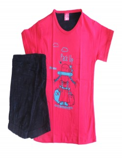 DEW DROPS DARK PINK COLOR KIDS PYJAMA SET