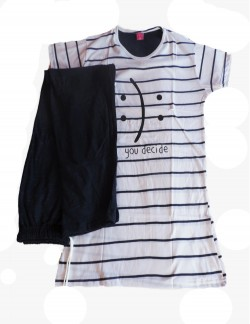 DEW DROPS BLACK STRIPPED LADIES PYJAMA SET
