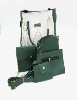 WHITE GREEN SHOULDER HANDBAG