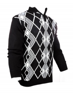 BLACK AND WHITE PATTERNED MEN WOOLEN SWEATER