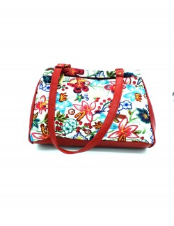 RED PRINTED SHOULDER HANDBAG
