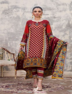 SAHIL RED LINEN LAWN