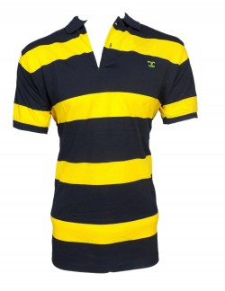 Zock Yelow Black Striped Polo T shirt