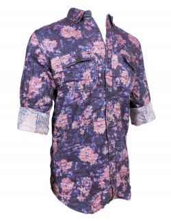Fake Studio Blue Printed Casual Shirt
