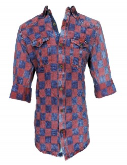 Urban Navy Blue And Maroon Check Shirt