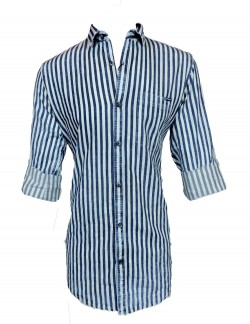 Urban Navy Black And White Stripe Casual Shirt