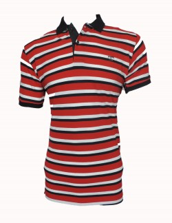 Zock Black White And Red Striped Polo Tshirt