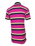Zock Pink And Pink Striped Polo Tshirt