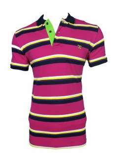 Zock Pink And Black Striped Polo Tshirt