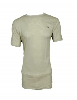 ZOCK LIGHT BROWN PLAIN ROUND NECK T SHIRT