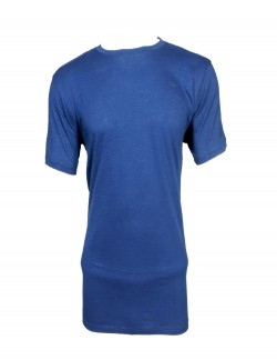 ZOCK DARK BLUE PLAIN ROUND NECK T SHIRT