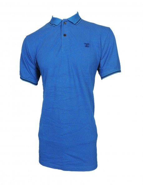 ZOCK BLUE PRINTED POLO T SHIRT