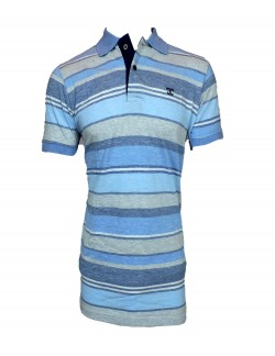ZOCK LIGHT BLUE STRIPED POLO TSHIRT