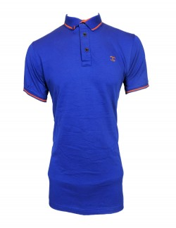 ZOCK DARK BLUE PLAIN POLO T SHIRT