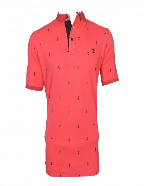 ZOCK RED PRINTED POLO T SHIRT