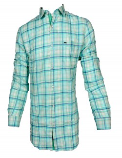 KEY PLUS WHITE GREEN AND BLUE CHECK SHIRT