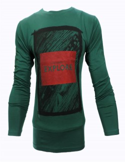 ZOCK DARK GREEN PRINTED ROUND NECK T SHIRT