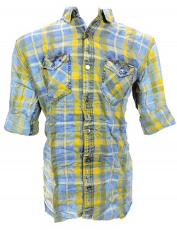 URBAN NAVY YELLOW CHECK SHIRT