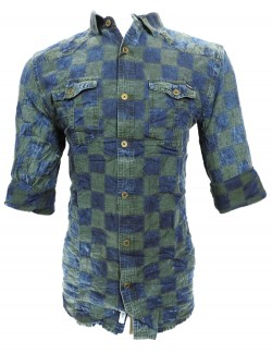 URBAN NAVY BLUE AND GREEN CHECK SHIRT