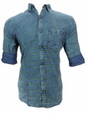 BLUE AND GREEN STRIPED CASUAL SHIRT
