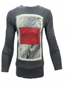 ZOCK GREY AND WHITE PRINTED ROUND NECK T SHIRT
