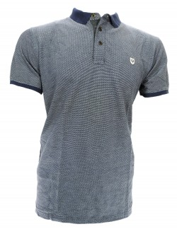 ZOCK DARK GREY PATTERN POLO T SHIRT