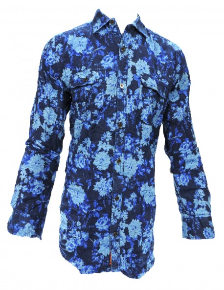 FAKE STUDIO DARK BLUE PRINTED CASUAL SHIRT