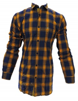 KEY PLUS DARK BROWN AND BLUE CHECK SHIRT