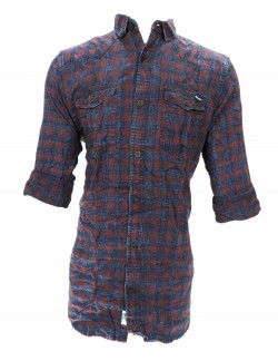 URBAN NAVY BLUE AND MAROON CHECKED SHIRT