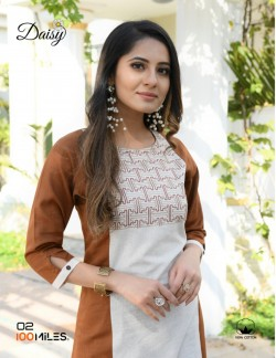 DAISY DARK BROWN AND WHITE KURTI