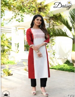 DAISY BROWN RED AND WHITE KURTI