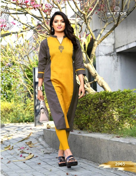 PRIYAL BLUE VIOLET AND YELLOW KURTI