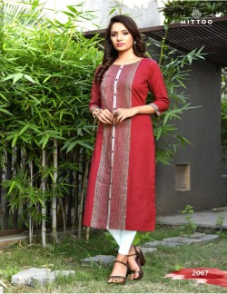 PRIYAL DARK BROWN RED KURTI