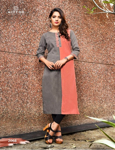 PRIYAL GREY AND BROWN RED KURTI